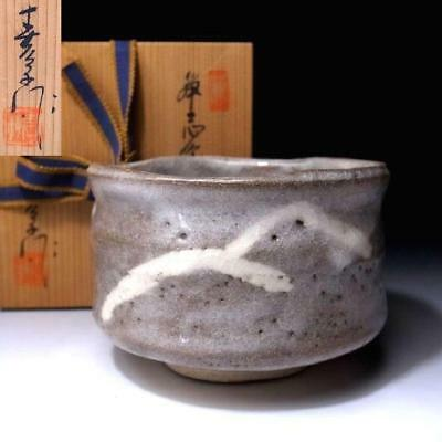 UK1: Vintage Japanese Tea bowl, Shino ware with Signed wooden box, Mountain