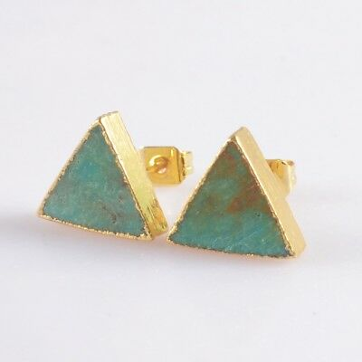 10mm Triangle Natural Genuine Turquoise Stud Earrings Gold Plated T047134