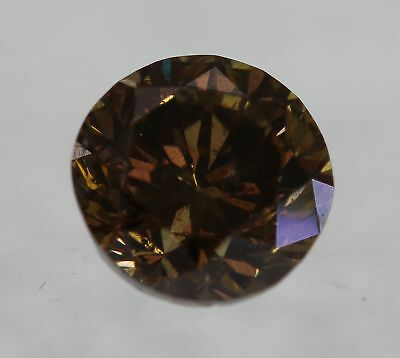 Cert 0.50 Vivid Goldish Brown VS2 Round Brilliant Enhanced Natural Diamond 4.8mm