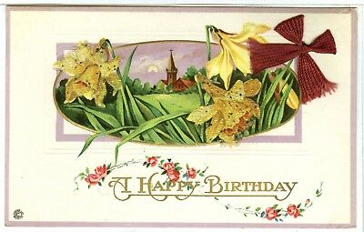 """Embossed with Glass Seed Beads and a Red Cloth Bow, """"A Happy Birthday"""", Church.."""