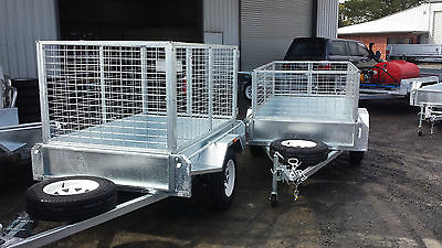 Off Road trailer, inc 900mm Cage, 7x4, Heavy Duty, galvanised checker plate, New