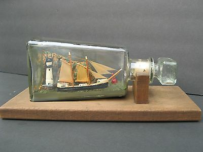 Vintage Ship In A Bottle Two-Masted With Lighthouse Bouy