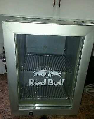 Red Bull Commercial Stainless Reach In Counter Top Mini Fridge Cooler Used