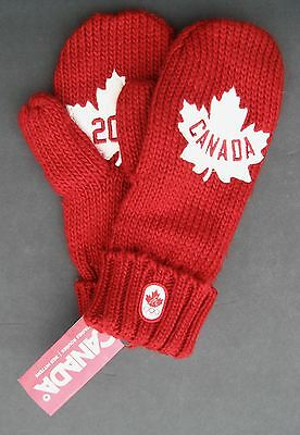 Team Canada Olympics Red Mittens Adult Red White Maple Leaf 2012 Sm/med