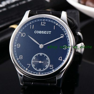 Corgeut 44mm Black Dial Silvery Mark Stainless Case Hand Winding 6498 Watches 02