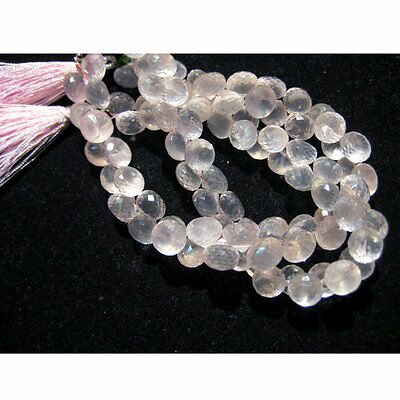 Rose Quartz Micro Faceted Onion Shaped Drop Briolettes 9mm Each 8 Inch approx
