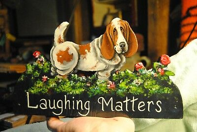 Original Painting~Basset Hound~Dog~By Hand~Whimsical~LAUGHING MATTERS~Butt~SIGN~