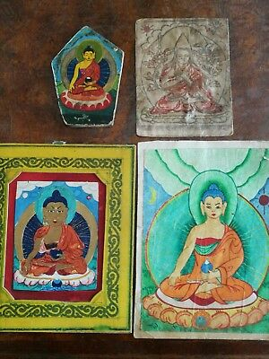 Old  Mongolian Buddhist Hand Drawn   Paintings On Paper.