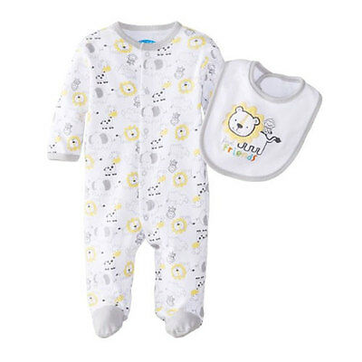 Baby Boy First Friends Footed Snuggle & Play Coverall with Bib 0-9 months