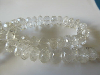 Natural Crystal Quartz Micro Faceted Rondelles 15mm Beads 15 Inch Strand GDS145
