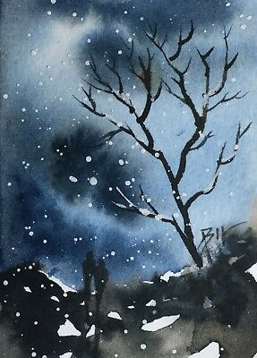 ACEO Original Art Watercolour Painting by Bill Lupton - Night Out