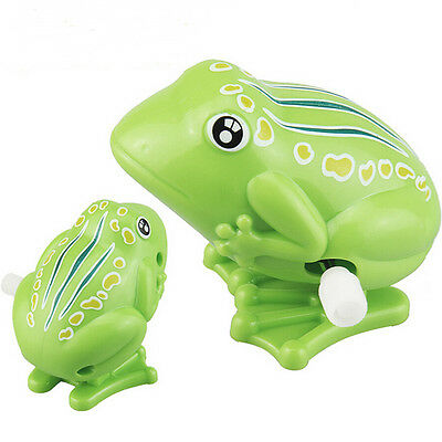 1x Wind up Frog Plastic Jumping Animal Classic Educational Clockwork Toys Fad.
