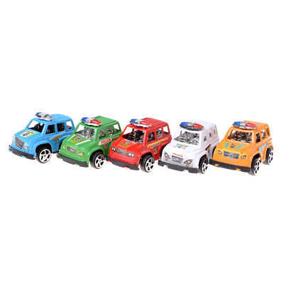 2X Plastic Pull Back Diecasts Toy Vehicles Cars Children Toys Gift Police Car G*