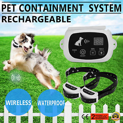 2 Dog Wireless Pet Fence Containment System Waterproof Collars  SIMPLE TO HANDLE
