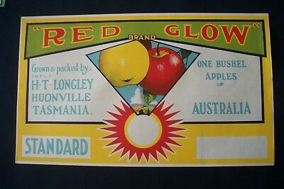 Vintage Original Apple Box Crate Label Tasmania Red Glow H.T Longley Huonville