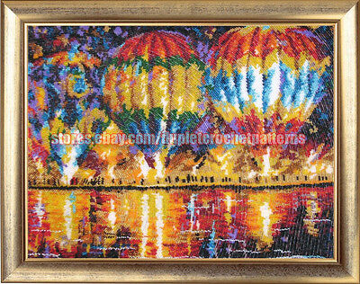 Hot Air Balloons DIY beaded embroidery kit Needlepoint beading Housewarm gift