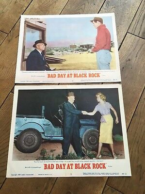 Bad Day At Black Rock 2 US Lobby Cards Spencer Tracey Robert Ryan