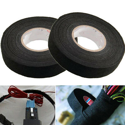 1Pc Black Wiring Loom Harness Adhesive Cloth Fabric Tape Cable Loom Tape
