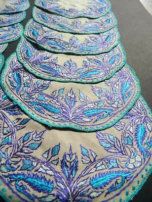Vintage table setting. Silk hand embroidered Paisley design table mats x 12 pcs