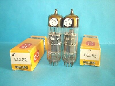 closely 2x of ECL82 / 6BM8 Philips by Mullard  tubes, NEW !  AVO VCM test.