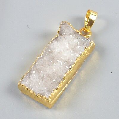 Uneven Natural Agate Druzy Geode Pendant Bead Gold Plated B039220