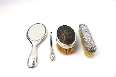 Beautiful Lot of 4 x SILVER Antique & Vintage VANITY Brushes, Mirror Etc MIXED