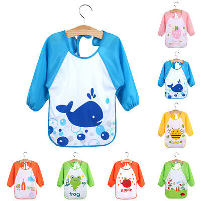 Baby Toddler Waterproof Long Sleeve Feeding Apron With Tie For Children Kids New