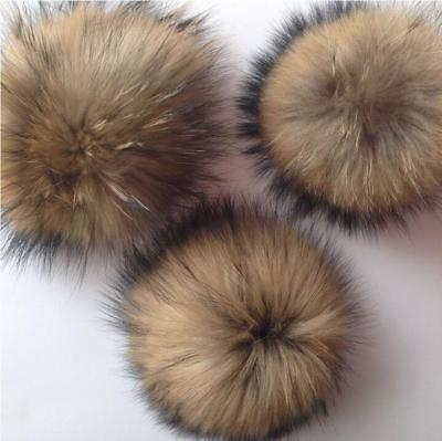 10cm Raccoon Fur Fluffy Pom Pom Ball For Hat Clothing Bag Shoses Keychain