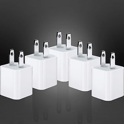 ( 5x ) OEM Factory USB Wall Adapter Charger for Apple 8 7 7+ 6 6+ 5 Cube Charge
