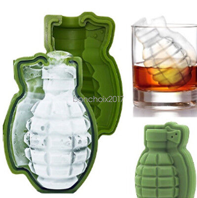 New 3D Grenade Ice Cube Mold Maker Great Silicone Trays Bar Party Mould Creative