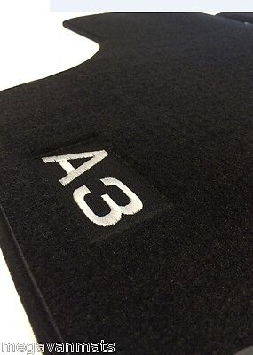 Audi A3 2003-2012 8P Tailored Black Floor Carpet Car Mats with A3 Logo 4 pieces
