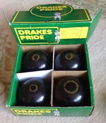 4 Henselite HEAVYWEIGHT model LAWN Bowls Size 5 HEAVY WEIGHT IN DRAKES PRIDE BOX