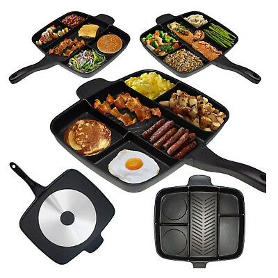 New The Master Pan Non-Stick Divided Grill Fry Oven Meal Skillet