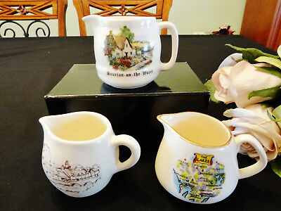 Three Vintage English Souvenir Jugs