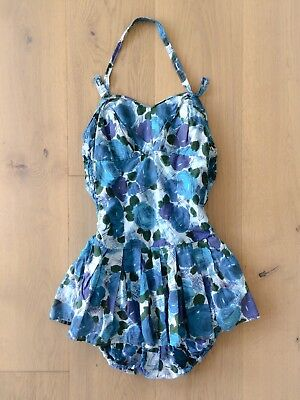 Vintage 1950s Pinup Blue Rose Print Swimsuit with Skirt Halter Top