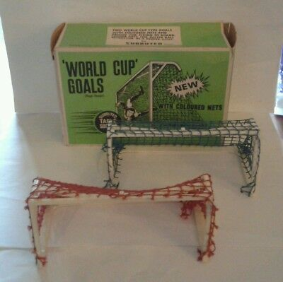 Subbuteo C130: World Cup Goals Blue & Red Nets Rare Football Accessories Boxed
