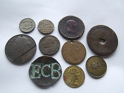 Collection Of Coins & Tokens With Engravings / Counterstamps Etc