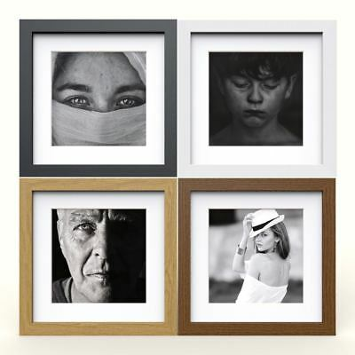 Square Photo Picture Frame with White Mounts Wood Effect Black White Oak Large