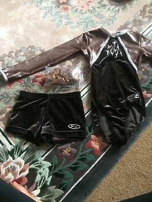 "Brown 28"" Zone Long Sleeved Gymnastics Leotard With Matching Scrunchie & Shorts"