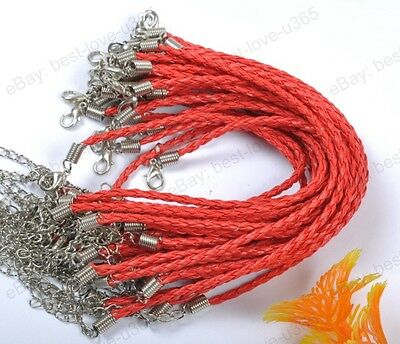 FREE SHIP 20pcs Red Braided Leather Charms Bracelets Cord 190MM BE754