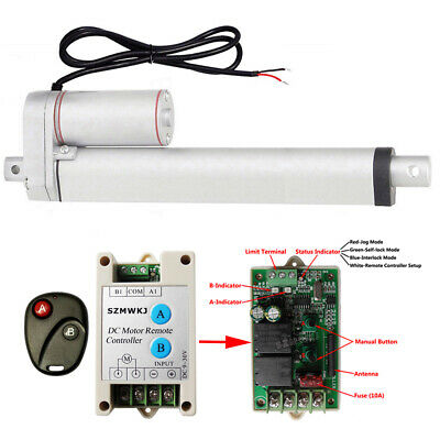"""14mm/s High Spd 10"""" Linear Actuator W/ Remote Control Heavy Duty 220lbs DC Motor"""