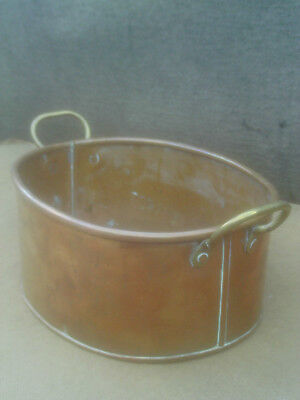 Vintage Oval Copper Planter with Brass Side Handles