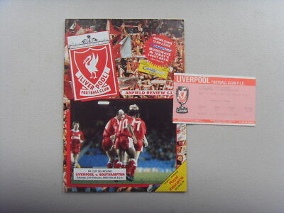 PROGRAMME & TICKET - LIVERPOOL v SOUTHAMPTON - F.A CUP 1990