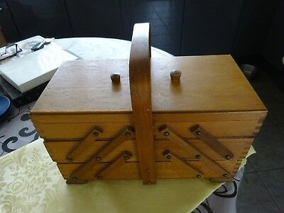 Vintage Retro 1960s Wooden  Cantilever Sewing Box