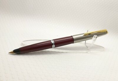 Parker 45 gold nib gold plated trim in maroon stainless steel lid made in UK