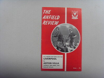 PROGRAMME - LIVERPOOL v ASTON VILLA - F.A YOUTH CUP FINAL 1972