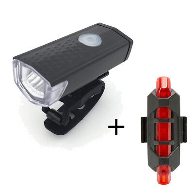 Rechargeable USB LED Bike Bicycle Cycling Headlight Front Light Tail Rear Lamp