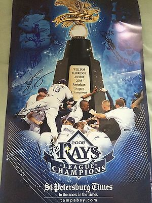 Tampa Bay Rays MLB American League Champions Signed Autographed Poster