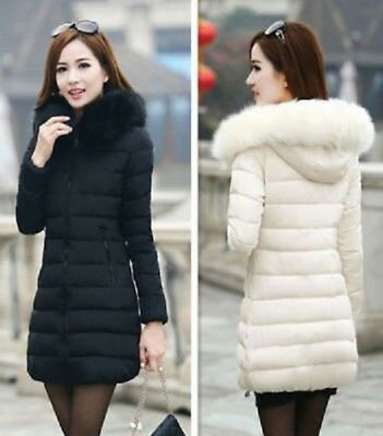 NEW Fashion Winter Women Down Cotton Parka Long Fur Collar Hooded Coat Jacket