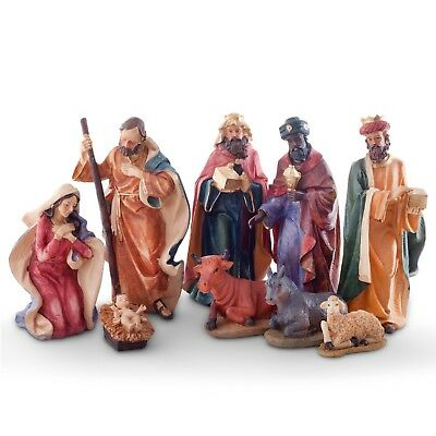 Large Traditional 9pc Christmas Nativity Scene Ornament Set